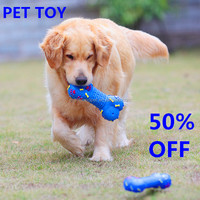 Eco-friendly squeaky plastic dog bone toy