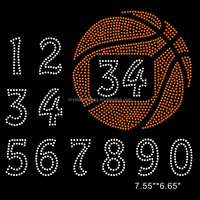 Number 0 to 9 Basketball Rhinestone Transfers for Apparel
