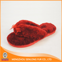 Real Mouton Sheepskin Lined Colorful Flip Flops Slippers