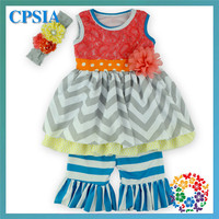 Latest Baby Girl Boutique Clothing Sets Cotton Coral Grey Chevron Girl Boutique Clothing 2015 Wholesale Baby Clothes China