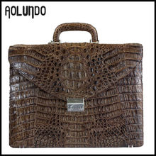 Top fashion design europe style crocodile women leather briefcase