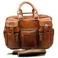 Vintage Mens Genuine Leather Travel Bag handbag tote bag wholesale briefcase