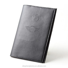 Genuine leather passport cover with special metal fitting