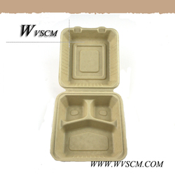 plant fiber pulp 3-section biodegradable food packaging containers