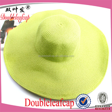 Popular Vogue Design Natural Paper Grass Straw Hat Large Brim Sun Shade Hat