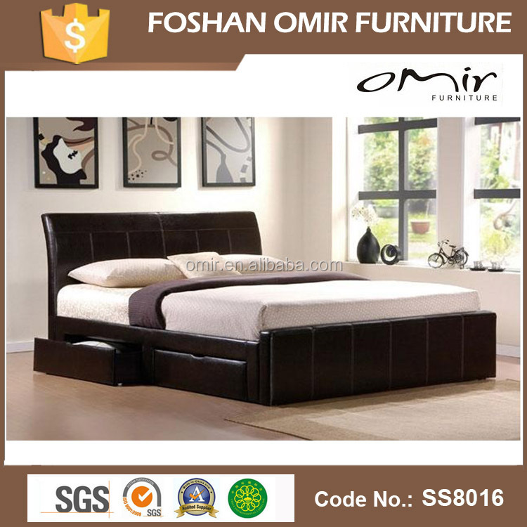 Ss8016 wood double bed designs with box buy wood double for Latest double bed designs with box