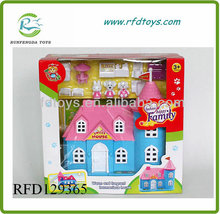 Lovely prefab with furniture suit kids plastic toy villa doll house toys villa