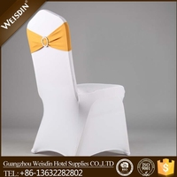 Hot sale gold ruffle spandex chair sashes for wedding banquet chairs decoration