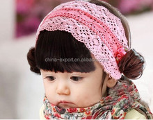 HD166 Hot sale pink wig kids hair bands for kids 2015