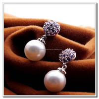 3 Colors Zircon Earrings, Multicolor AAA Zricon Earrings, Platinum Plated Zircon and Freshwater Pearl LuxuryEarrings Jewelry