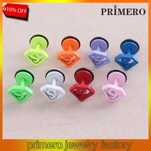 PRIMERO Candy colors Medical allergy South Korea punk neutral Superman Men Women stainless steel earrings ear bone screws