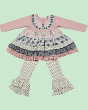 Fall And Winter Toddler Girl Remake Outfits With Ruffles Top For Girls In Boutique Branded Outfits