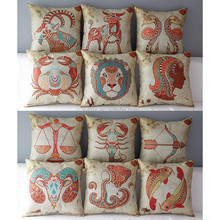 DZT157453 Zodiac Printed Square Sofa Throw Pillow Covers For Home Decoration