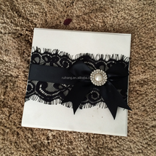 muslim hot sale black lace wiht ribbon and pearl wedding invitation cards