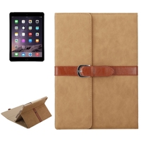 Wholesale Price Bussiness Style Leather PU Leather Case for iPad Air 2 with Holder and Buckle