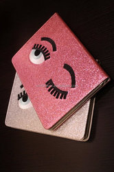 Tablet case cute eyes glitter stand leather sleeve case for ipad mini