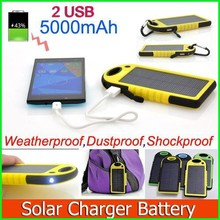 Full capacity 5000mAh portable waterproof rohs solar cell phone charger