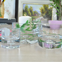 wholesale hand blown personalized plain 4 inch glass candle holders
