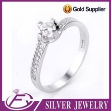 Piedra de circón bling bling precio barato 925 anillos de plata