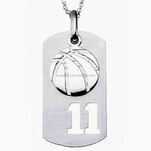 Sterling Silver Basketball Charm & Sports Number Dog Tag Pendant