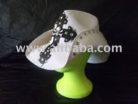 White Hat with Black Cross, Chrome Studs and Skull Concho