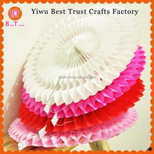 Wedding and Party Colorful Cut out Tissue Fan, Hanging Round Tissue Paper Fan For Decoration