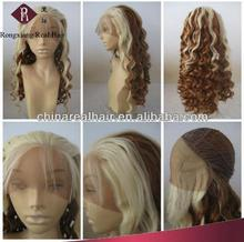 Best Quality Heat Resistant Synthetic Hair Curly half and half color wig