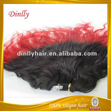 Cheap natural wave colored quality two color virgin brazilian hair weave
