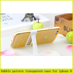 2015 new cute bubble pattern transparent kickstand case for iphone 6