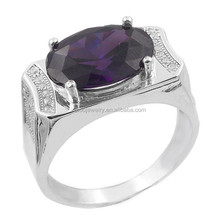 amethyst cz men's ring jewelries, sterling silver man ring collection designs