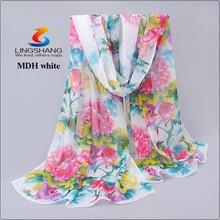 Fashion Women Chiffon Scarf Big Flower Print Long Shawl Wrap Pashmina