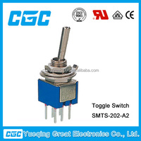 6 pins DPDT mini toggle switch on-on toggle switch