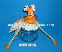 Polyresin reindeer glass canister
