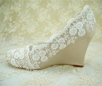 Handmade Champagne Lace Diamante Bridal Shoes RoundToe Wedge Wedding Shoes 3.5 inches Heel high/Size 4.5-10