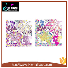100% silk 12mm satin 80*80cm screen printing flower pattern