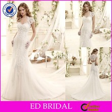 CE556 Gorgeous Appliques Lace Mermaid Design Wedding Dress Online With Short Sleeve Jacket