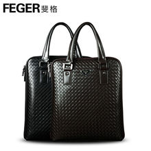 FEGER High-end Men's Small Business Briefcase Bag Knitting Leather Men Handbag