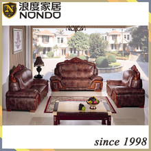 Luxury antique wooden carving sectional leather sofa AC233