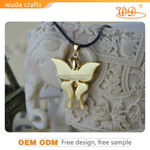 24K pure gold plating zinc-aluminum alloy zircon butterfly gold plated pendant for women