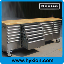 HTC9624W full stainless steel 96 inch tool chest bench with wooden top