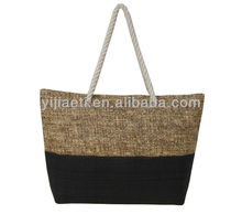 High Quality Natural Straw Beach Bags With Cotton Handle