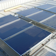 Flat panel solar collectors for swimming pool heating