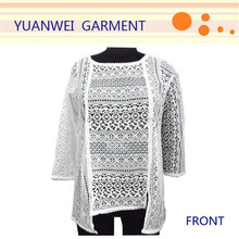 2015 Fashion new women clothes tops loose sexy long sleeve see through lace blouse