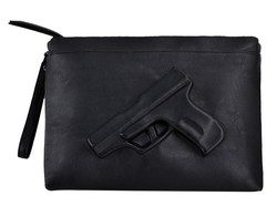 Unique Shoulder Gun Bag 3D Printing Designer Handbag Black Fashion Women Messenger Bags