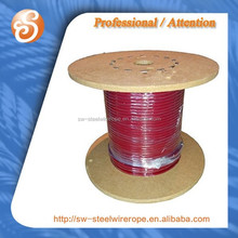 6x24 solid red pvc coated steel wire rope cable