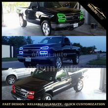 Million Colors RGB LED Halo Ring Headlight Kit w/ Wireless Remote For GMC Chevy Truck