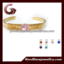 fashion accessory gold plating copper bangle with crystal