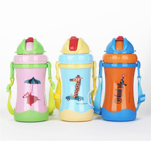 2016 diller new hot sale colorful stainless children thermos jug with soft straw