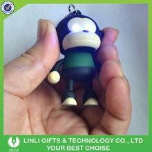 Flashing Logo Plastic Light Sound Keychain Monkey
