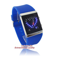 Fashion double hearts faceless couple lover wrist Environmental silicone band women digital led watch